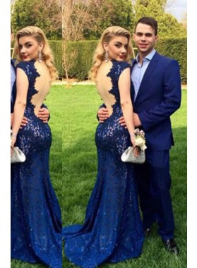 LadyPromDress 2019 Blue Floor-Length/Long Mermaid/Trumpet V-Neck Lace Prom Dresses