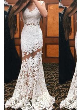 Sleeveless Natural Mermaid/Trumpet Lace Prom Dresses
