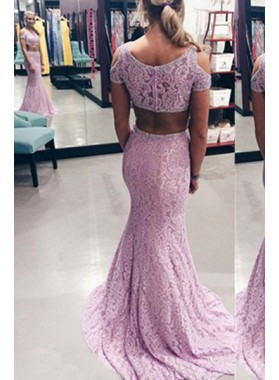 Beading Mermaid/Trumpet Lace Two Pieces Prom Dresses