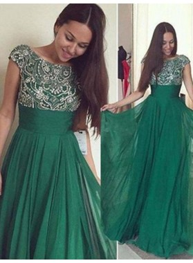 Floor-Length/Long Beading A-Line/Princess Chiffon Dark Green Prom Dresses