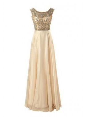 Floor-Length/Long A-Line/Princess Beading Floor-Length/Long Chiffon Prom Dresses