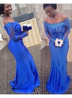 Royal Blue Long Sleeve Off-the-Shoulder Appliques Column/Sheath Prom Dresses