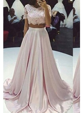 Floor-Length/Long A-Line/Princess Lace Two Pieces Taffeta 2019 Glamorous Pink Prom Dresses