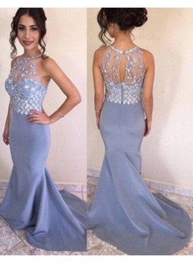 Mermaid/Trumpet Sleeveless Natural Zipper Crystal Prom Dresses
