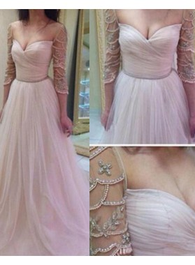 A-Line/Princess Sweetheart 3/4 Length Sleeves Beading Tulle 2019 Glamorous Pink Prom Dresses
