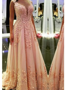 Floor-Length/Long A-Line/Princess Sweetheart Appliques Tulle Prom Dresses