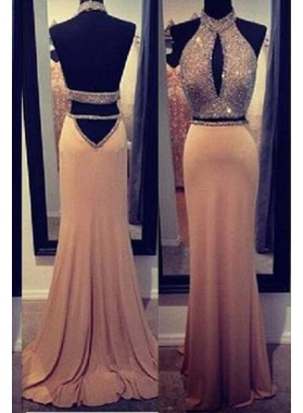 Floor-Length/Long Column/Sheath Halter Backless Chiffon Prom Dresses