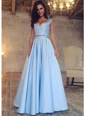 LadyPromDress 2019 Blue A-Line/Princess Sleeveless Natural Floor-Length/Long Satin Prom Dresses