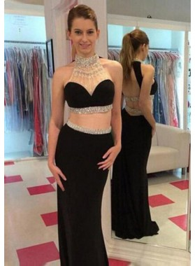 High Neck Sleeveless Natural Zipper Column/Sheath Floor-Length/Long Chiffon Prom Dresses