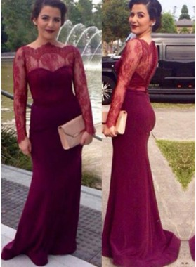 Floor-Length/Long Column/Sheath Long Sleeve Scalloped Neck Chiffon Prom Dresses