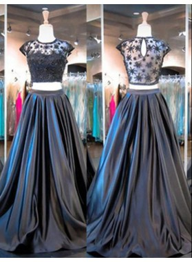 Floor-Length/Long A-Line/Princess Lace Capped Sleeves Satin Grey Prom Dresses