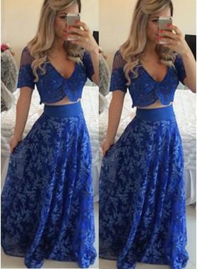 Royal Blue Floor-Length/Long A-Line/Princess V-Neck Lace Two Pieces Prom Dresses