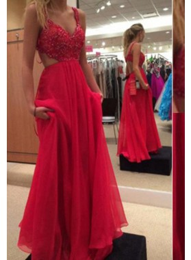 2019 Gorgeous Red Floor-Length/Long A-Line/Princess Beading Straps Chiffon Prom Dresses