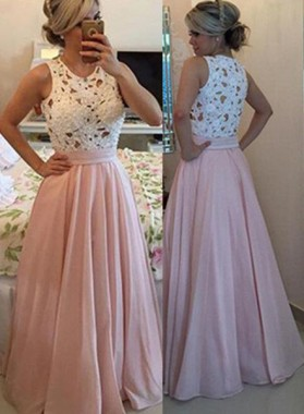 Floor-Length/Long A-Line/Princess Floor-Length/Long Chiffon 2019 Glamorous Pink Prom Dresses