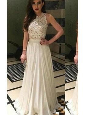 2019 Unique White Floor-Length/Long A-Line/Princess Sleeveless Appliques Chiffon Prom Dresses