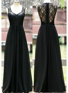 A-Line/Princess Sleeveless Natural Zipper Floor-Length/Long Chiffon 2019 Junoesque Black Prom Dresses
