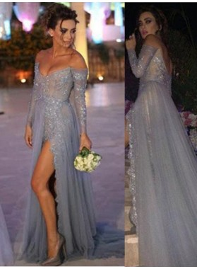 Floor-Length/Long A-Line/Princess Beading Off-the-Shoulder Chiffon Silver Prom Dresses