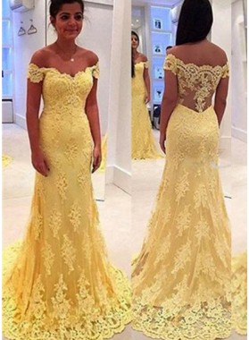 Floor-Length/Long Off-the-Shoulder Mermaid/Trumpet Lace Prom Dresses