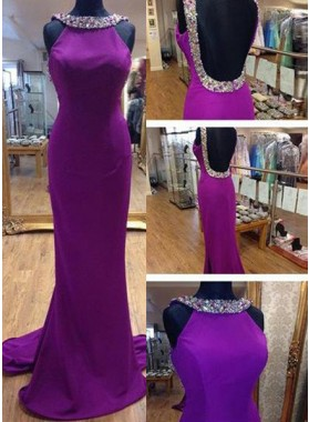 Column/Sheath Backless Sleeveless Natural Beading Prom Dresses