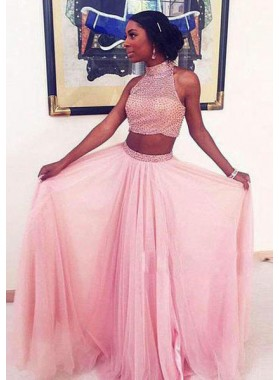 High Neck Beading Natural Two Pieces A-Line/Princess Prom Dresses