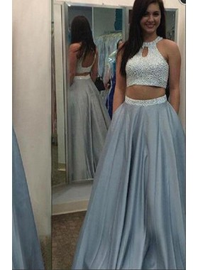 Silver A-Line/Princess Sleeveless Natural Backless Floor-Length/Long Satin Prom Dresses