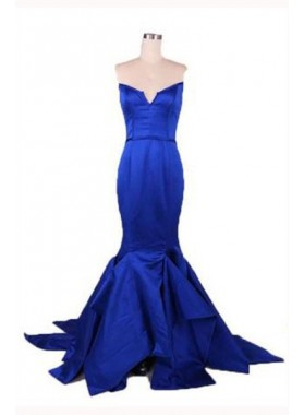 Floor-Length/Long Mermaid/Trumpet Notched Satin Prom Dresses