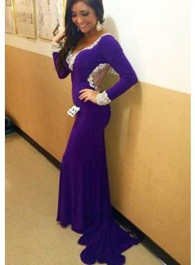 Purple Ruffles-Trimmed Chapel Train Stretch Satin Prom Dresses