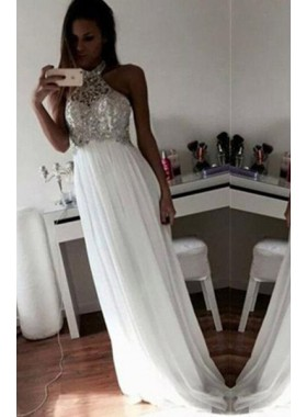 Floor-Length/Long A-Line/Princess Beading Chiffon Prom Dresses 2018 Unique White