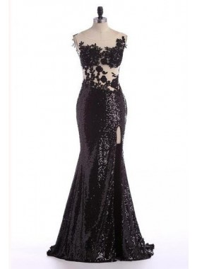 2019 Junoesque Black Floor-Length/Long Appliques Mermaid/Trumpet Sweetheart Sequins Prom Dresses