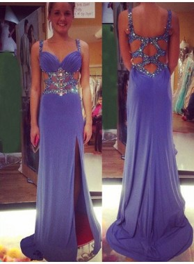 Prom Dresses Straps Beading Split Front Column/Sheath
