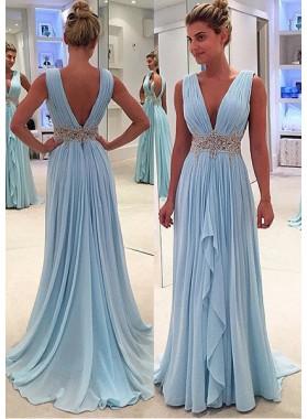 Light Sky Blue Ruffled Appliques V-Neck Sleeveless Chiffon Prom Dresses