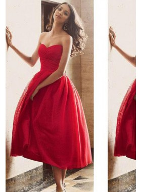 2019 Gorgeous Red Sweetheart Sleeveless Natural Tea-Length A-Line/Princess Prom Dresses