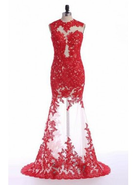 2019 Gorgeous Red Cheap Prom Dresses Floor-Length/Long Mermaid/Trumpet Appliques Tulle