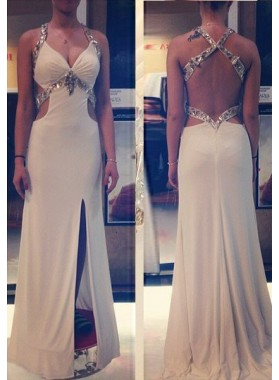 Prom Dresses Split Front Beading Straps Backless