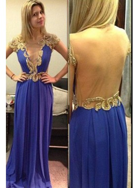 Purple Capped Sleeves Appliques Floor-Length/Long Prom Dresses