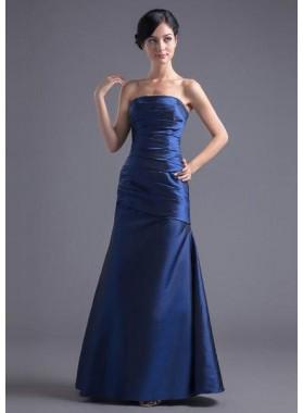 LadyPromDress 2019 Blue Prom Dresses Mermaid/Trumpet Strapless Sleeveless Natural Zipper Floor-Length/Long Ruching Taffeta