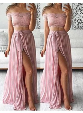 Off-the-Shoulder Split Front Pleats A-Line/Princess Two Pieces Prom Dresses