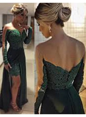 Green Split Front Long Sleeve Floor-Length/Long A-Line/Princess Prom Dresses
