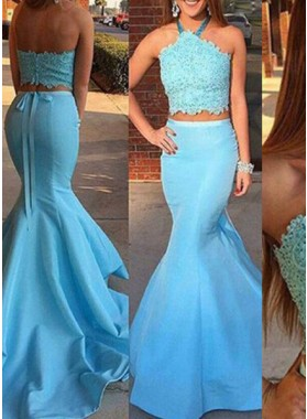 LadyPromDress 2019 Blue Appliques Halter Backless Mermaid/Trumpet Two Pieces Satin Prom Dresses
