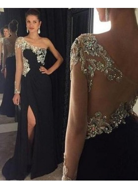 2019 Junoesque Black Column/Sheath One Shoulder Sleeveless Backless Sweep/Brush Train Chiffon Prom Dresses