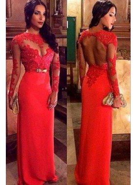 2021 Gorgeous Red Long Sleeve Appliques Floor-Length/Long Column/Sheath Prom Dresses
