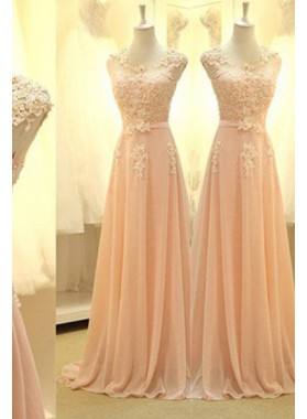 Floor-Length/Long A-Line/Princess Sleeveless Appliques Chiffon Prom Dresses