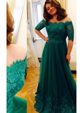 Green Off-the-Shoulder Half Sleeves Lace A-Line/Princess Tulle Prom Dresses