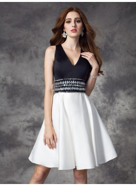 A-Line Princess V-neck Rhinestone Sleeveless Short Satin Homecoming Dresses