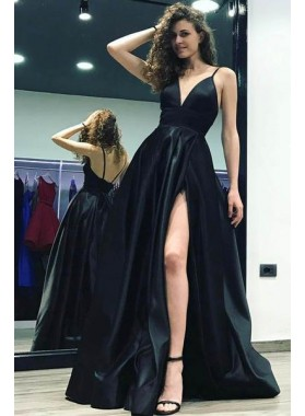 2019 Sexy Black Sweetheart Side Slit Satin Prom Dresses