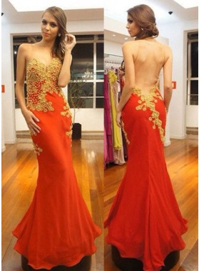 Round Neck Sheer Back Beading Mermaid/Trumpet Chiffon Prom Dresses
