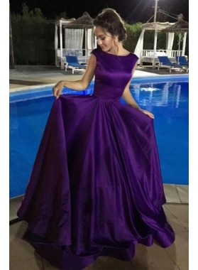 Designer Princess/A-Line Purple Satin Long Prom Dresses