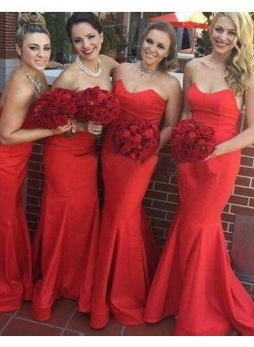 2019 Gorgeous Red Sweetheart Floor-Length/Long Sleeveless Mermaid/Trumpet Prom Dresses
