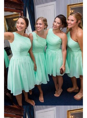 Knee length 2021 One Shoulder Chiffon Mint Green Short Bridesmaid Dresses