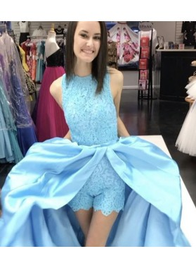 LadyPromDress 2019 Blue Crew Neckline Lace Natural Sleeveless A-Line/Princess Satin Prom Dresses